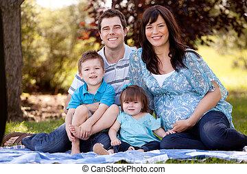 美しい, 若い 家族