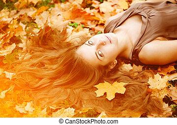 美しい, 若い, 秋, park., 最新流行である, woman., 女の子