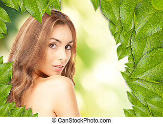 美しい, 葉, 女, 緑