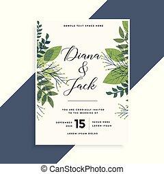 美しい, 葉, 結婚式, デザイン, 招待, 緑, カード