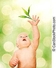 美しい, 葉, 赤ん坊, 緑, 捕獲物, つらい