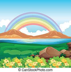 美しい, 虹, 光景, 自然
