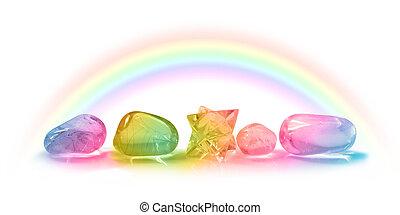 美しい, 虹, 5, 治癒, 水晶