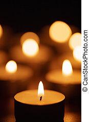 美しい, 蝋燭, フォーカス, 燃焼