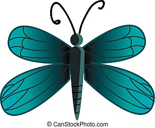 美しい, 蝶色, 青, イラスト, 翼, ベクトル, 図画, ∥そ∥, ∥あるいは∥