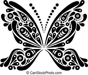 美しい, 蝶, パターン, 形。, イラスト, 黒, 芸術的, 白, tattoo.