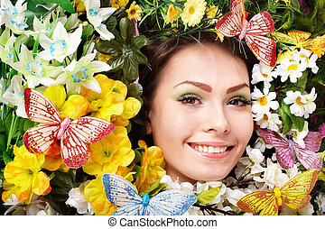 美しい, 蝶, 女の子, ファッション, flower.