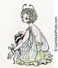 美しい, 蝶, 女の子, 衣装