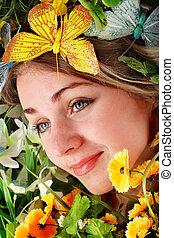 美しい, 蝶, 花, grass., 緑, 女の子