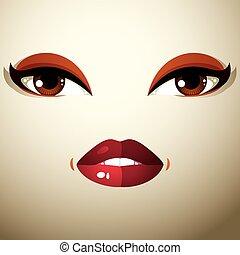 美しい, 表現, 人々, 女性, 若い, 衝撃を与えられた, 顔, 明るい, 部分, メーキャップ, 美顔術, eyes., woman., 唇, 驚かされる