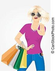 美しい, 袋, 女性買い物, 若い