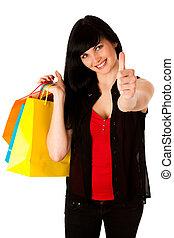 美しい, 袋, 女性買い物, 若い, 隔離された
