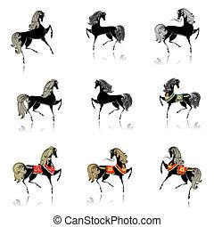 美しい, 装飾用である, コレクション, 馬, デザイン, あなたの