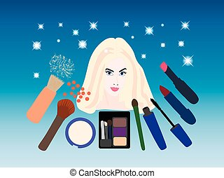 美しい, 装飾用である, 女, 若い, 化粧品, 肖像画, ブロンド