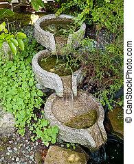 美しい, 装飾用である, 庭, 滝, 池, 家