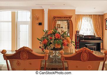 美しい, 装飾用である, chairs., 保温カバー, 暮らし, 花束, room., バックグラウンド。, 詳細, interior., テーブル, ピアノ, 花, テーブル。, 家具
