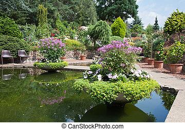 美しい, 装飾用庭, 池