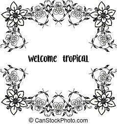美しい, 装飾, 花, wellcome, フレーム, 現代, イラスト, トロピカル, ベクトル