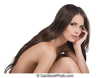 美しい, 裸である, beauty., 光景, 隔離された, 若い, 毛, 間, カメラ, 白, 見る, 側, 女性