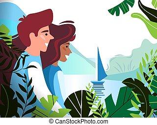 美しい, 見る, ベクトル, ロマンチック, advertisements., 恋人, 囲まれた, 若い, イラスト, leaves., トロピカル, 船, 森林, 湾, カード, ポスター
