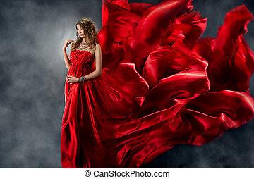美しい, 見る, 女, 振ること, 絹, 。, flame., 服, 赤