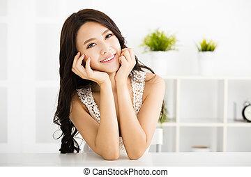 美しい, 見る, 微笑の 女性, 若い