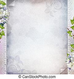 美しい, 記念日, 結婚式, 休日, 背景, ∥で∥, 白い花