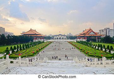 美しい, 記念, 広場, 民主主義, 上に, 日没, 国民, chiang, 台湾, 光景, ホール, kai-shek