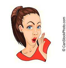 美しい, 詳しい, 特徴, 気絶させられた, emotions., vector., 女の子, 漫画, 驚かされる, ...