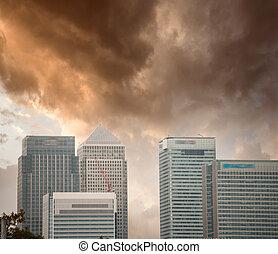 美しい, 財政, district., スカイライン, ロンドン, 日没