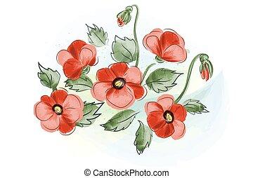 美しい, 贈り物, 花束, 水彩画, カード, ケシ, 赤