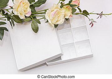 美しい, 贈り物, 隔離された, 背景, 白い花