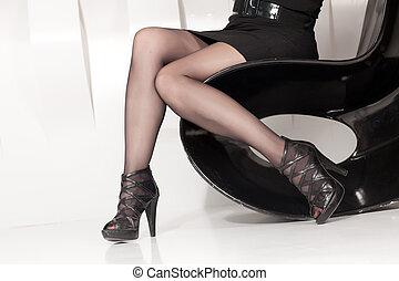 美しい, 足, 女性