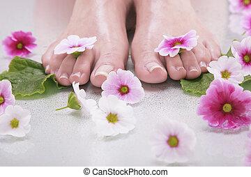 美しい, 足, 花