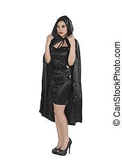 美しい, 身に着けていること, フード付き, 外套, 黒, アジアの少女