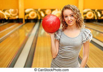美しい, 身に着けていること, ボール, 灰色, クラブ, 手掛かり, 若い, ボウリング, 女の子, 服, 赤