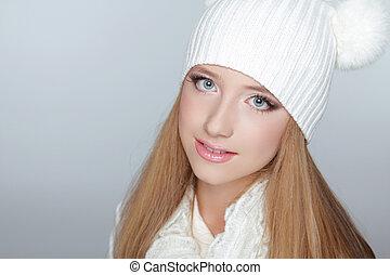 美しい, 身に着けていること, 冬, 打撃。, 若い, スタジオ, 時間, 肖像画, 女の子, 衣類