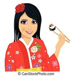 美しい, 身に着けていること, 女性の 食べること, 寿司, 日本語, 着物, 箸