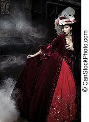 美しい, 身に着けていること, 女, 上に, 列車, 服, 赤