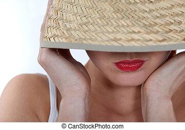 美しい, 身に着けていること, 女, 帽子, 夏