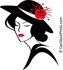 美しい, 身に着けていること, 女, 帽子