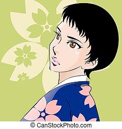 美しい, 身に着けていること, 女, 日本語, ピンク, すみれ, 着物