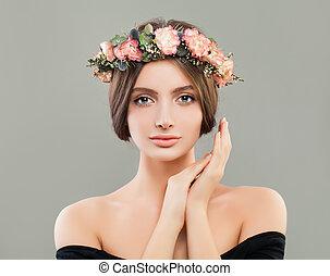 美しい, 身に着けていること, 女, 花輪, 肖像画, 花