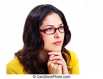 美しい, 身に着けていること, 女, 若い, glasses.