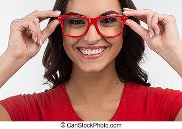 美しい, 身に着けていること, woman., 若い, 朗らかである, 肖像画, 女の子, 幸せな微笑すること, 赤, ガラス