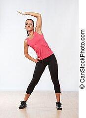 美しい, 運動選手, 女, exercise., フィットネス