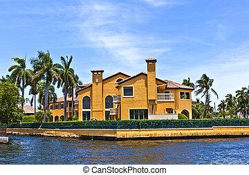 美しい, 運河, 家, lauderdale, 光景, 城砦
