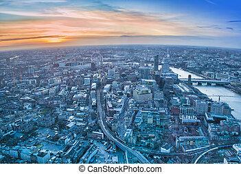美しい, 都市現場, スカイライン, ロンドン, 日没
