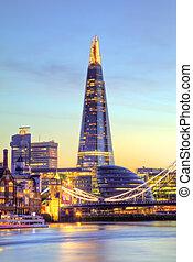 美しい, 都市, イギリス\, 現代, 部分, 日没, ロンドン