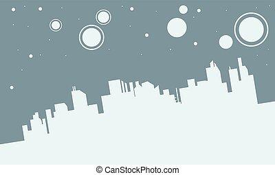 美しい, 都市, シルエット, ベクトル